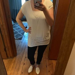 Zara White Oversized High Low Top
